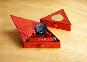 incense box bodhi red tibet fairtrade gift