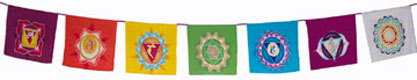 Mandala flags with chakras painted on them