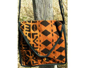 mudcloth bag made fairtrade in burkinna faso, africa created with fair trade standards