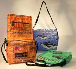 hand bags and messanger bags made from recycled rice bags created with fair trade standards fair trade gift