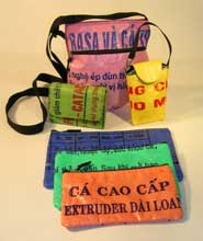 bags made from rice bags in Vietnam Small Wallet, Eco Clip Cell, Cosmetic created with fair trade standards a fair trade gift
