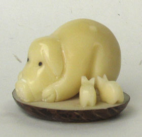 tagua nut pig animal carving