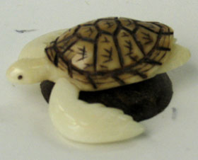 tagua nut turtle animal carving