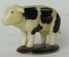 tagua nut cow animal carving